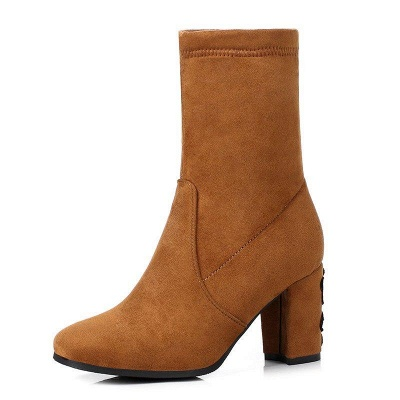Chunky Heel Working Suede Square Boots On Sale_4