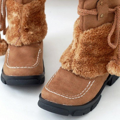 Fur Chunky Heel Suede Round Boots On Sale_5