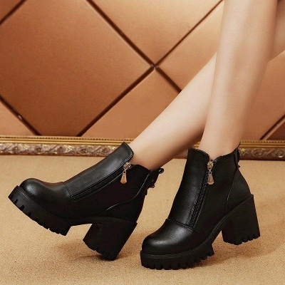 Zipper Chunky Heel Daily Round Toe Boots On Sale_8