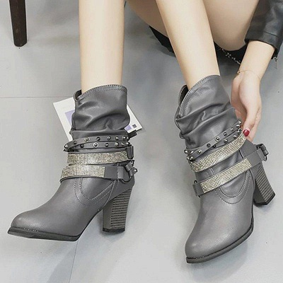 Rivet Chunky Heel Daily Pointed Toe Boots On Sale_7