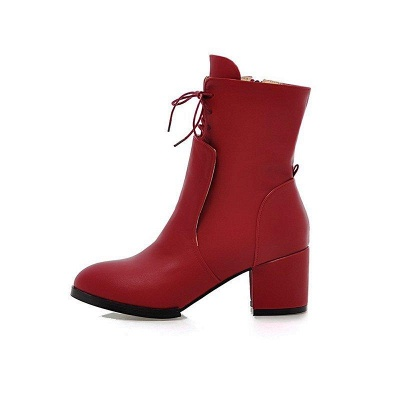 Chunky Heel Lace-up Working Pointed Toe Boots On Sale_5