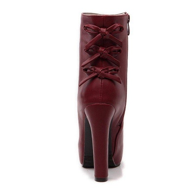 Daily Chunky Heel Zipper Tie Round Toe Boots On Sale_14