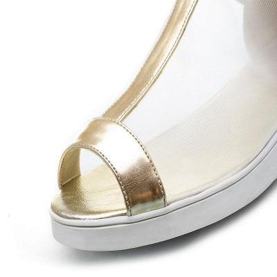 Zipper Daily Peep Toe Wedge Heel Elegant Boots On Sale_7