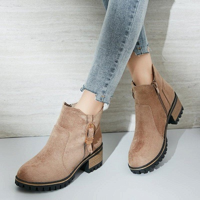Buckle Chunky Heel Daily Round Toe Boots On Sale_5