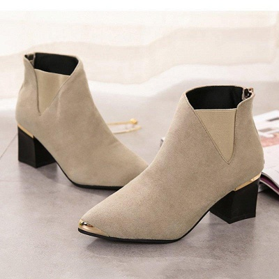 Suede Chunky Heel Pointed Toe Boots On Sale_5