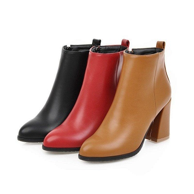 Chunky Heel Zipper Daily Pointed Toe Boots On Sale_8