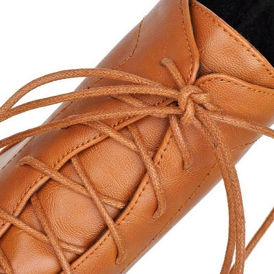 Daily Lace-up Fall PU Round Boots On Sale_10