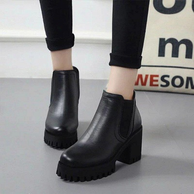 Daily Zipper Chunky Heel Round Toe Suede Boots On Sale_2
