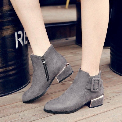 Chunky Heel Suede Button Boots On Sale_5