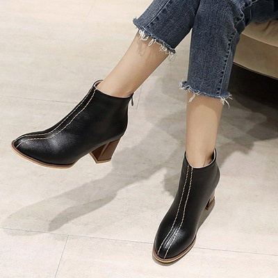 Chunky Heel PU Zipper Daily Pointed Boots On Sale_6
