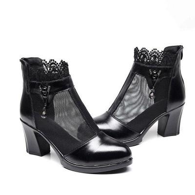 Chunky Heel Zipper Round Toe Elegant Boots On Sale_6