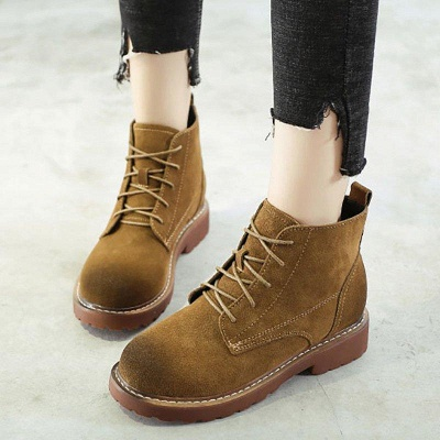 Grind Cowhide Leather Round Toe Boots On Sale_1