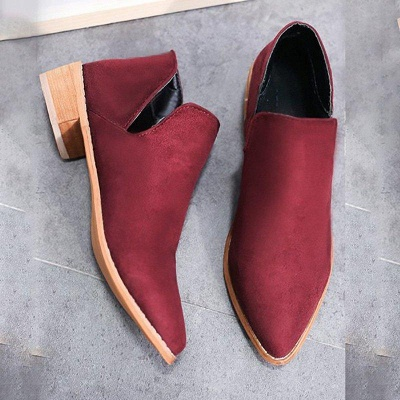 Chunky Heel Daily Pointed Toe Elegant Suede Boots On Sale_2