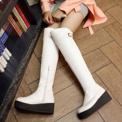 Women's Boots Wedge Heel Black Round Toe Boots On Sale_7