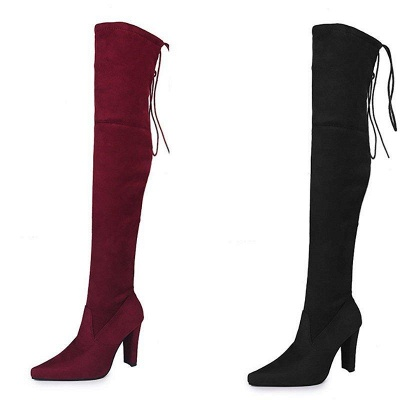 Chunky Heel Lace-up Daily Pointed Toe Elegant Boots On Sale_5