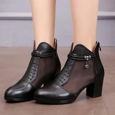 Beading Chunky Heel Round Toe Zipper Boots On Sale_4
