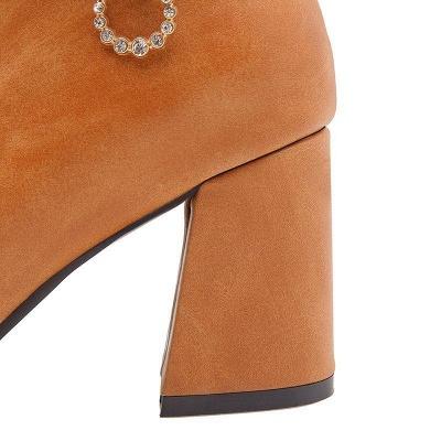 Daily PU Chunky Heel Boots On Sale_5