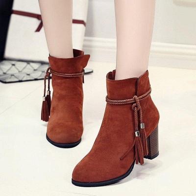 Chunky Heel Daily Tassel Zipper Boots On Sale_3