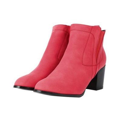 Chunky Heel PU Zipper Boots On Sale_2