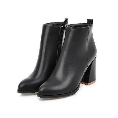 Chunky Heel Zipper Daily Pointed Toe Boots On Sale_2