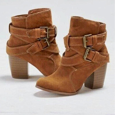 Chunky Heel Daily Buckle Suede Boots On Sale_3