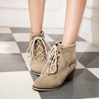 Chunky Heel Daily Rhinestone Pointed Toe Boots On Sale_3