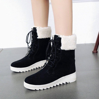 Winter Daily Wedge Heel Lace-up Boots On Sale_1