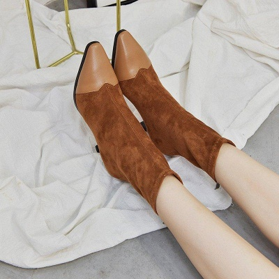 Zipper Cone Heel Daily Pointed Toe Boots On Sale_4