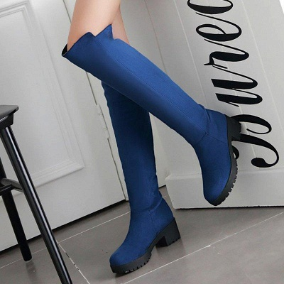Suede Daily Chunky Heel Round Boots On Sale_6