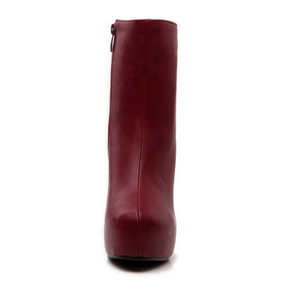 Daily Chunky Heel Zipper Tie Round Toe Boots On Sale_9