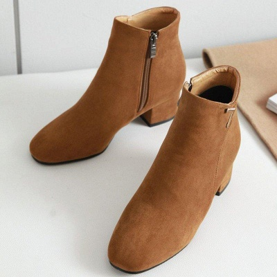 Zipper Chunky Heel Suede Boots On Sale_3