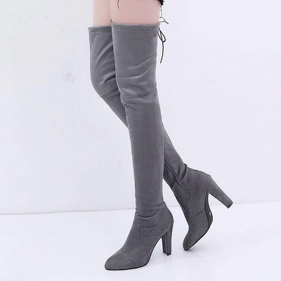 Suede Daily Lace-up Chunky Heel Boots On Sale_2