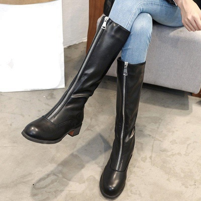 Fashion Zipper Chunky Heel Boot On Sale_3