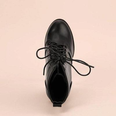 Chunky Heel PU Lace-up Boots On Sale_3