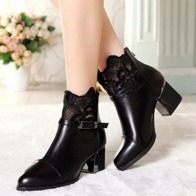 Daily Buckle Chunky Heel Pointed Toe Zipper Boots On Sale_4