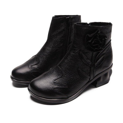Chunky Heel Leather Flower Round Boots On Sale_1