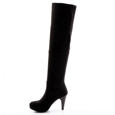 Suede Fall Daily Cone Heel Round Boots On Sale_5