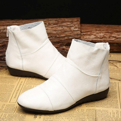 Daily Zipper Flat Heel Pointed Toe Boots On Sale_3