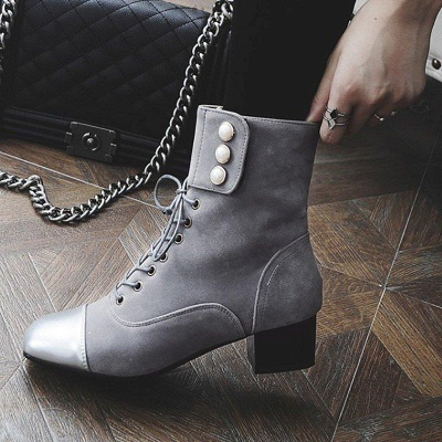 Rivet Chunky Heel Daily Square Toe Boots On Sale_3