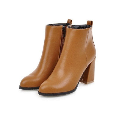 Chunky Heel Zipper Daily Pointed Toe Boots On Sale_3