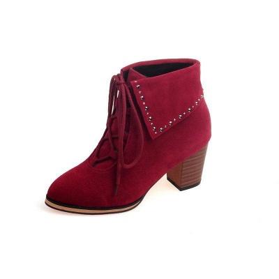 Chunky Heel Daily Rhinestone Pointed Toe Boots On Sale_8