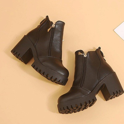 Zipper Chunky Heel Daily Round Toe Boots On Sale_3