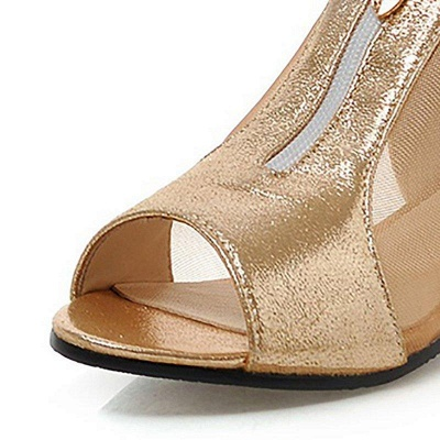 Mesh Hollow-out Peep Toe Summer Boots On Sale_2