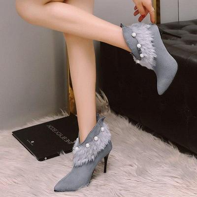 High Heel Zipper Suede Boot On Sale_3