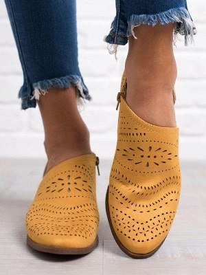 Hollow-out Low Heel Summer Faux Suede Boot On Sale_6