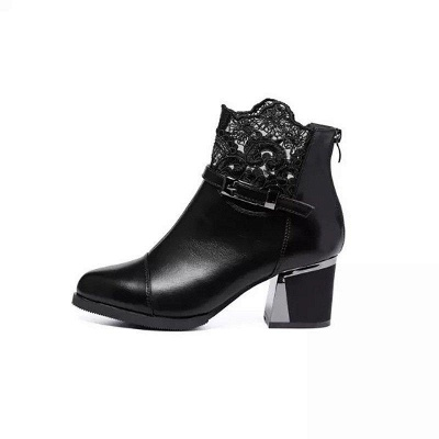 Daily Buckle Chunky Heel Pointed Toe Zipper Boots On Sale_8