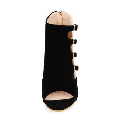 Suede Cone Heel Zipper Lace-up Peep Toe Boots On Sale_10