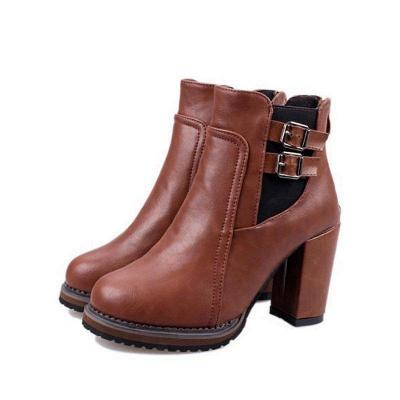PU Buckle Round Toe Chunky Boots On Sale_5