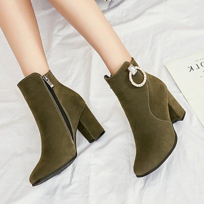 Suede Chunky Heel Working Square Boots On Sale_6