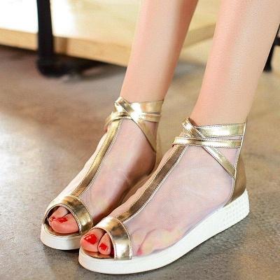 Zipper Daily Peep Toe Wedge Heel Elegant Boots On Sale_3